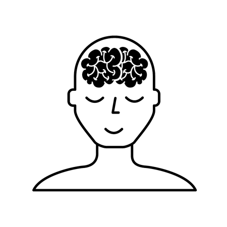 portrait human character mental brain wellness vector illustration black and white Illustration