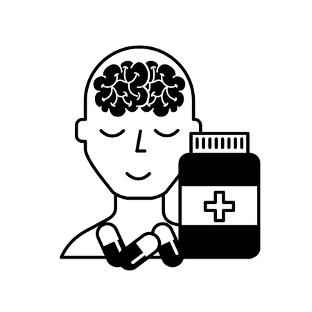 portrait human character mental brain bottle medicine capsule vector illustration black and white Reklamní fotografie - 108324329