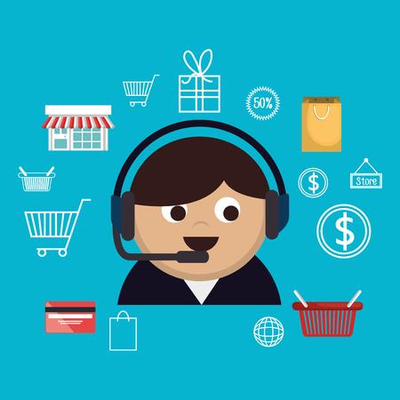 buy on line with salesman agent vector illustration design