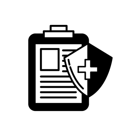 medical clipboard report and shield protection vector illustration black and white Çizim