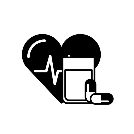 heart rate water glass and capsule medical vector illustration black and white