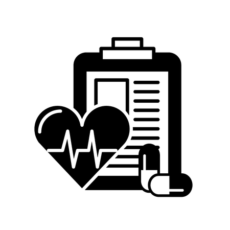 clipboard medical report heart rate and pills vector illustration black and white