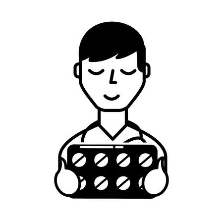 man character holding packaging pills prescription vector illustration black and white