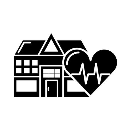 hospital edificio ritmo cardíaco cuidado de la salud ilustración vectorial en blanco y negro