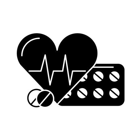 Ilustración de vector de pastillas médicas y latidos del corazón en blanco y negro