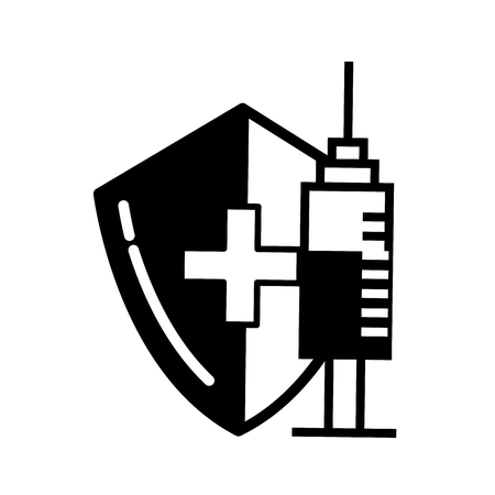 medical shield protection and syringe care vector illustration black and white Ilustracja