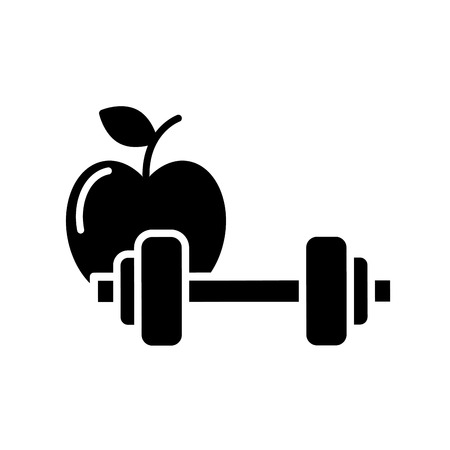 healthcare lifestyle weight barbell and apple vector illustration black and white Banco de Imagens - 109951012