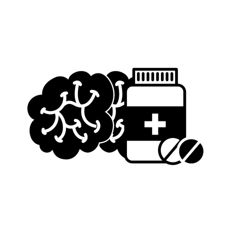 human brain mental care bottle medicine vector illustration black and white Foto de archivo - 109951013