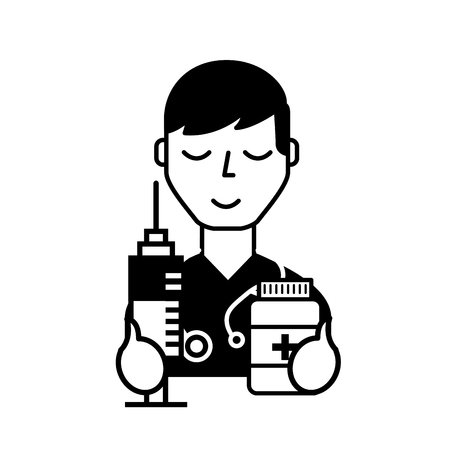 doctor professional character with syringe and bottle pills vector illustration black and white