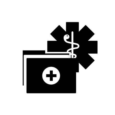 caduceus medical folder report documents vector illustration black and white