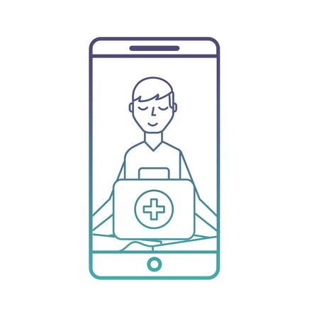 smartphone man meditation medical app vector illustration neon Banque d'images - 108325323