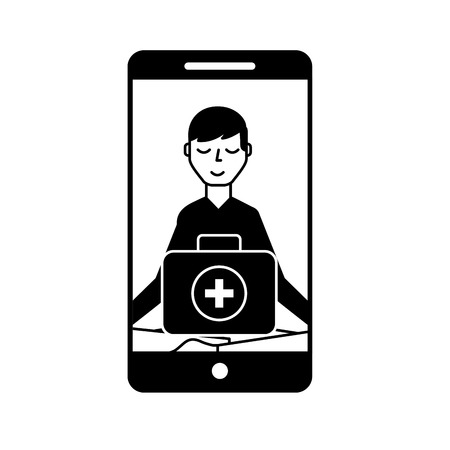 smartphone man meditation medical app vector illustration black and white Banque d'images - 109951018