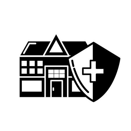 hospital medical building shield protection care vector illustration black and white