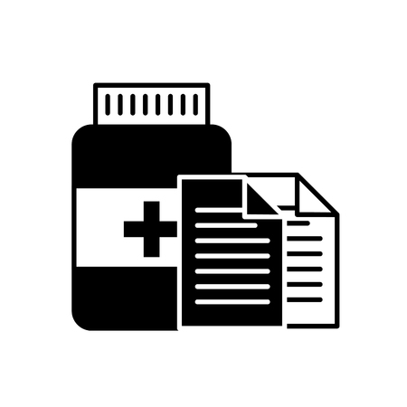 prescription medical bottle pills pharmacy vector illustration black and white