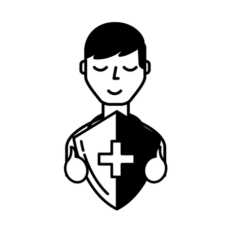 man character holding shield protection medical symbol vector illustration black and white
