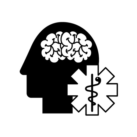 profile human head brain mental caduceus vector illustration black and white