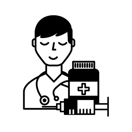 doctor staff medical bottle and syringe vector illustration black and white Ilustracja
