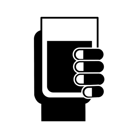 hand holding water glass beverage vector illustration black and white