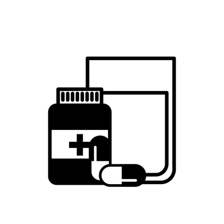 medical bottle prescription pills with water glass vector illustration black and white