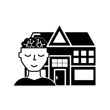 human portrait brain mental hospital health vector illustration black and white