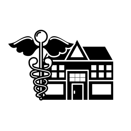 caduceus hospital building healthcare medicine vector illustration black and white