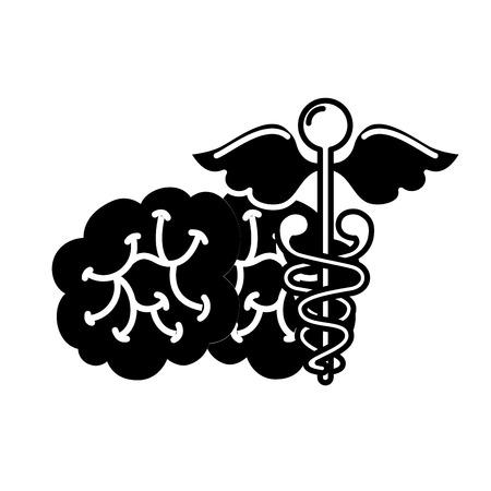 mental brain human care caduceus vector illustration black and white