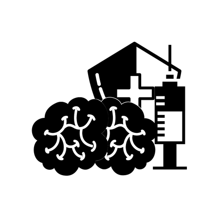 human brain syringe and shield protection medical vector illustration black and white