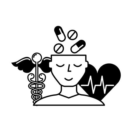 human profile pills mental heartbeat caduceus vector illustration black and white Stock Illustratie