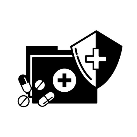 medical folder and pills shield protection vector illustration black and white Ilustração