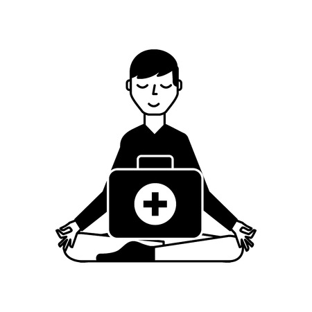 man sitting in meditation with kit first aid vector illustration black and white Stock Illustratie
