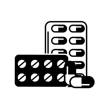 pills blister with capsules packaging medicines healthcare medical vector illustration black and white 向量圖像