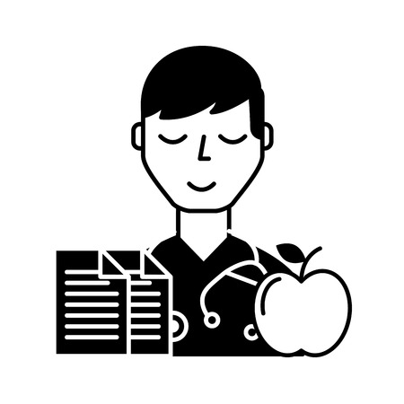 doctor portrait documents and apple healthcare vector illustration black and white Ilustração