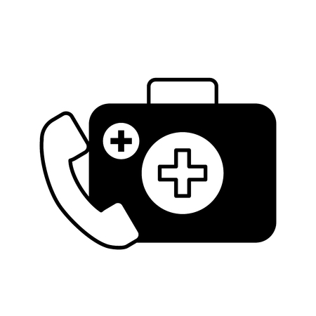 medical telephone service kit first aid vector illustration black and white Banque d'images - 109951048