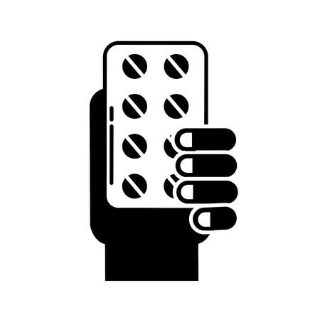 hand holding pills blister medicine vector illustration black and white