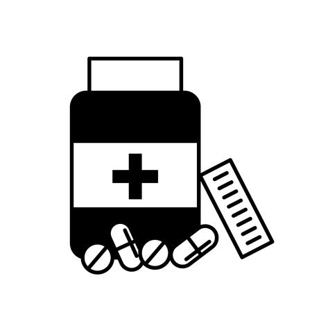 open bottle pills medicine healthcare vector illustration black and white