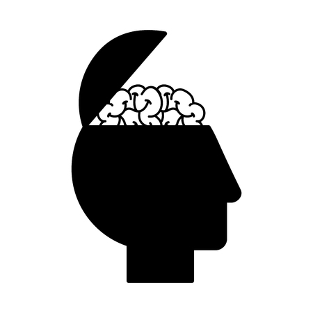 profile human head brain medical vector illustration black and white Stok Fotoğraf - 109951054