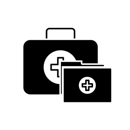 kit first aid folder report medical vector illustration black and white Illustration