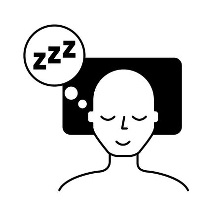 homme endormi sur le lit illustration vectorielle noir et blanc