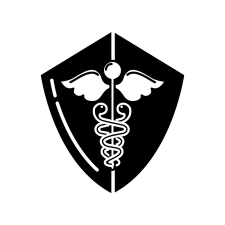 caduceus shield medical healthcare symbol vector illustration black and white