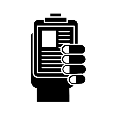 hand holding clipboard medical document vector illustration black and white