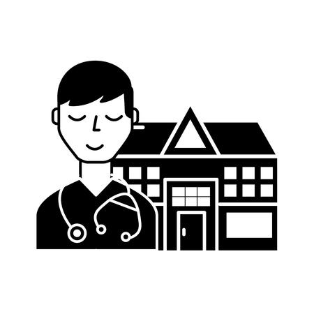 doctor staff hospital building medical vector illustration black and white Illustration