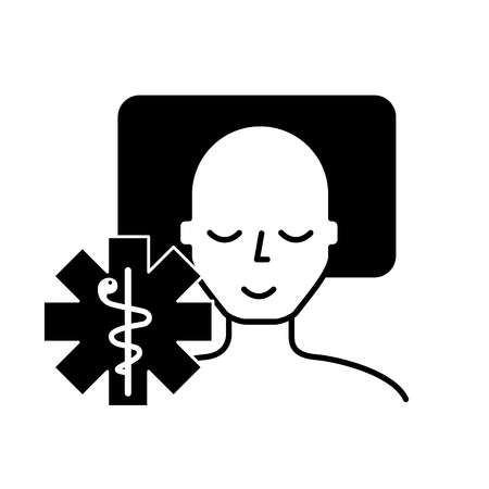 man sleeping on the bed caduceus medical vector illustration black and white Banque d'images - 109951066