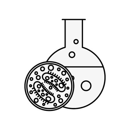 Tubo de ensayo de ciencia de laboratorio bacterias placa de Petri ilustración vectorial línea delgada