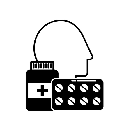 profile human head medicine pharmacy pills bottle vector illustration black and white 向量圖像