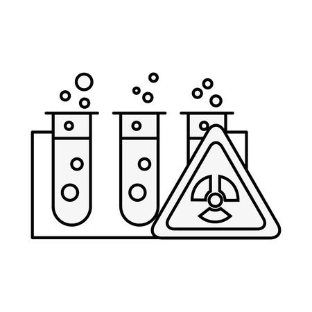 tubes à essai laboratoire analyse des dangers vector illustration fine ligne Vecteurs