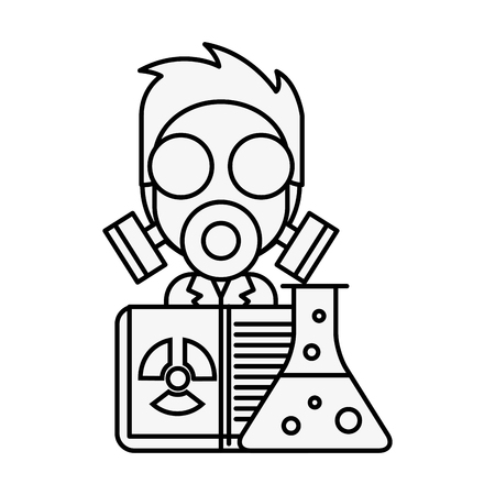 scientific man professor with mask radiation test tube vector illustration thin line