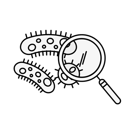 laboratorio de química infección de bacterias lupa ilustración vectorial línea delgada