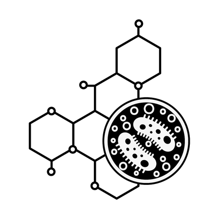 science laboratory petri dish bacteria molecule vector illustration