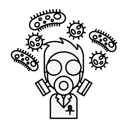 scientific man with mask and bacteries chemistry laboratory vector illustration thin line