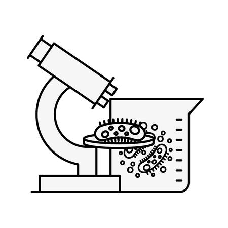 microscope flask bacteries chemistry laboratory vector illustration thin line Illustration